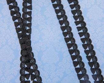 "7 7/8 Yards of Vintage 9/16"" Black Edging, Lip Trim. Beautiful Black Satin Tone. Scalloped Edge Design with Looped Brush Fringe. Item 3939T"
