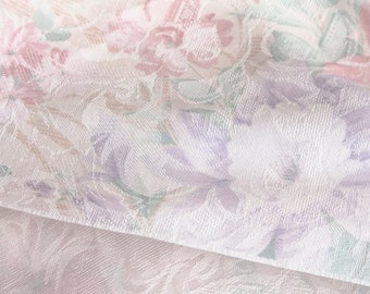 """3 Yards of Vintage 42"""" Brocade Jacquard Woven Fabric. Subtle Pastel Floral. Off White, Teal, Peach, Rose, Lavender. Satin Highlights. 3969F"""