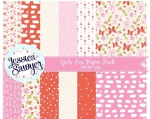 80% OFF - INSTANT DOWNLOAD, girls fox digital papers or woodland backgrounds for crafts and products