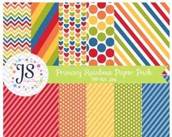 80% OFF - INSTANT DOWNLOAD, Primary Rainbow Digital Scrapbooking Papers, Rainbow Printable Papers, Party Paper, for commercial and personal