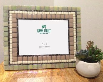 5 x 7 Mosaic Picture Frame, Mother's Day Gift, Neutral Home Decor