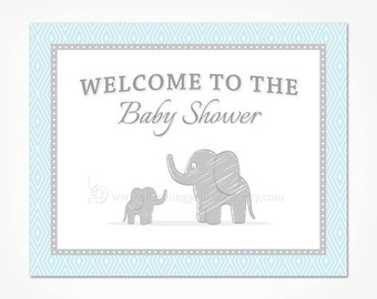 Blue Elephant Baby Shower Welcome Sign - Printable Instant Download - Blue and Grey Elephant Decorations for Boy Baby Shower Sign