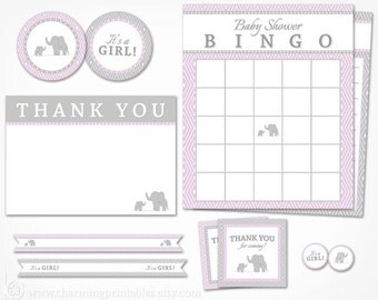 Purple Elephant Baby Shower Decorations - Printable Party Package INSTANT DOWNLOAD - Its a Girl Purple and Grey Gray Decor
