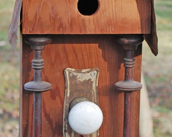 Giant Roundtop Bird Sanctuary from Salvaged Mahogany with  Turned Columns and Wooden Slat or Rusty Tin Roof. Topped with Old Clock Finial