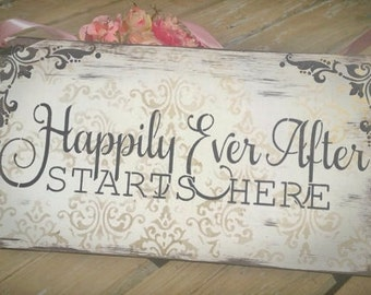 Happily ever after starts here, wedding sign, fairytale wedding, princess, gold pink dark brown  vintage wedding royal once upon a time