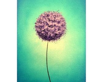 Abstract Art Print of Contemporary Purple Dandelion Flower, Giclee Print of Modern Art, Lavender Floral Art, Mid Century Home Decor 5x7 9x12