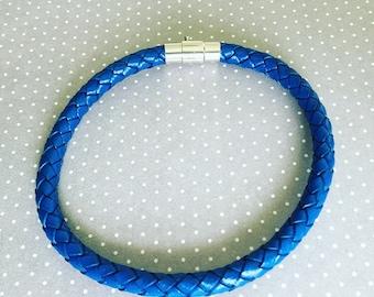 Mens Braided Leather Bracelet. Leather Bracelet. Mens Jewelry. Blue Leather Bracelet. Mens Bracelet. Sugarplum Gallery.