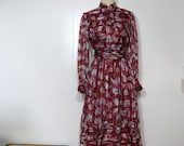 Silk Chiffon Dress MEDIUM Abstract Tulip Print Vintage Asian Shirtwaist Dress Red Blue Florals White & Gold Stripe Shanghai Custom Tailors