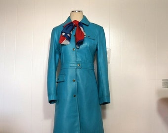 Mod Leather Jacket Beged Or 1960s Vintage Trench Coat SMALL Teal Blue Snap Front Couture Made in Israel 60s 70s Motorbike Biker Babe Style