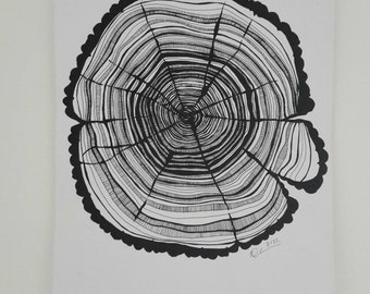 Origanal Hand Drawn Tree Ring A3 signed and Dated