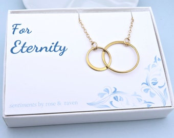 Gold Eternity Circle Necklace - double circle -  best friends - sisters necklace - for eternity message card