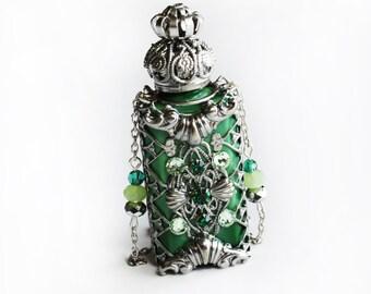 Perfume Bottle with Swarovski® crystals, Upcycled Green Miniature Scent Bottle, Glass Bottles Design, Potion Bottle Crystal Pendant