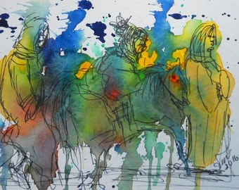 """ORIGINAL watercolor and ink painting, NOT a print. """"New to This Land"""""""