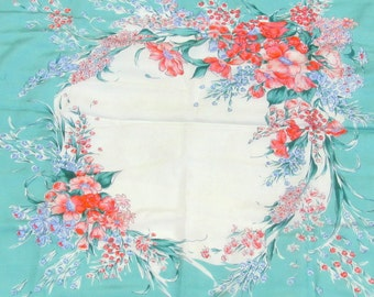 """SALE Gorgeous Vintage Painted Flowers Silk Scarf  28"""" x 29"""" Teal Red Blue"""