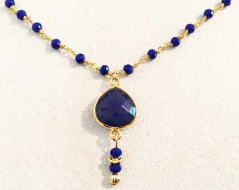Natural Sapphire Heart Shape Bezel Set Necklace with Dark Blue Chalcedony Rosary Chain and Delicate Gold Filled Rolo Chain.