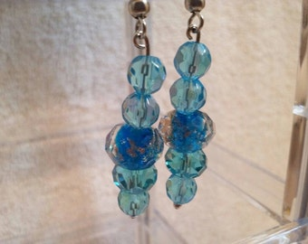 Blue Beaded Wire Earrings