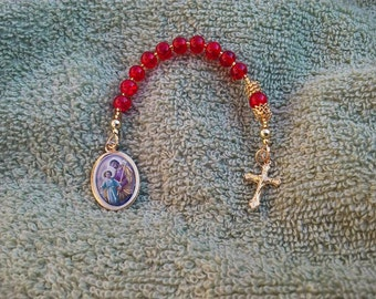 Red Beaded St. Joseph Chaplet