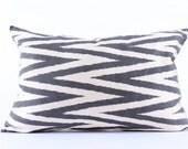 Black White, Zigzag Silk Ikat Pillow Cover, Decorative Throw Pillow Case, Cushion Cover, Decor Modern Pillow, Cover Zigzag Green Ikat Pillow