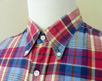 Vintage 100% Cotton Indian Madras Multicolored Plaid Trad / Ivy League Casual S/S Shirt Size XL 17 1/2.  Made in USA.