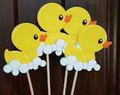 Rubber Ducky Centerpiece Sticks, Baby Shower Decoration, Centerpiece Sticks, Rubber Ducky Baby Shower, Rubber Ducky Party-Set of 4