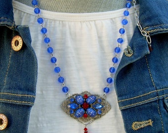 Blue and Red Assemblage Necklace with Vintage Brooch and Beads