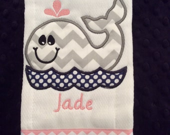 Grey and Pink Whale Burp cloth