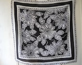 Vintage 1980s scarf Liz Claiborne abstract floral black and white  31 x 31 inches