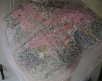 vintage 1960s sheer ground nylon scarf   25 x 26 inches
