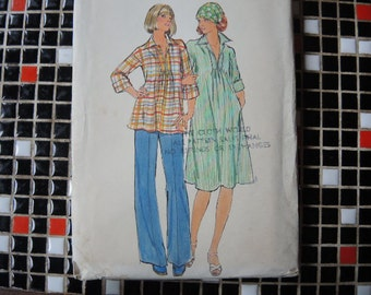 vintage 1970s Butterick sewing pattern 4828 maternity dress or top pants  size 12 uncut