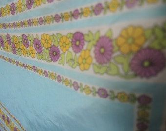 vintage 1960s acetate and nylon sheer scarf blue floral made in Japan 13 x 45 inches