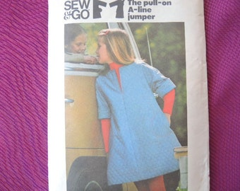 vintage 1970s Butterick sewing pattern 4452 girls pull on A line jumper size 10