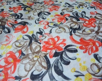 Vintage 1960s knit polyester fabric abstract flowers 62 inches wide