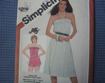 vintage 1980s Simplicity sewing pattern 5925 misses jiffy pullover dress or pull on romper size 6/8/10