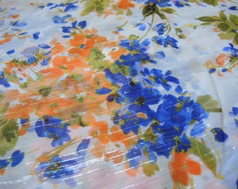 vintage 1980s sheer floral fabric silver threading 61 inches wide