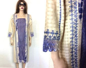 Vintage Mirrored East Indian Dress Kurta Bohemian Hippie Dress Kaftan Embroidered 60s 70s Boho Ethnic Tunic Tribal Caftan Clothing Kurti
