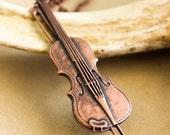 Violin Necklace - Antique Copper Pendant Music Steampunk Victorian Nostalgic Shabby chic