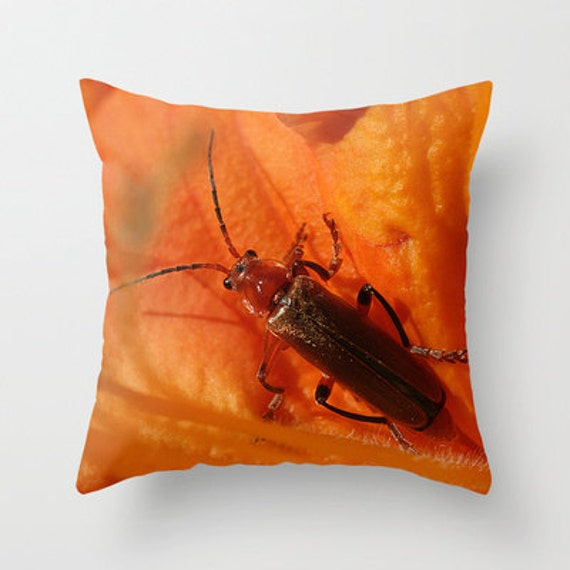 Soldier Beetle Photo Throw Pillow, Throw Pillow, Pillow, Nature Lover, Photography, Pillow Cover, Outdoor Pillow Cover, Rustic Decor, Gift
