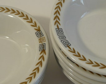Shenango China SHO-72, olive laurel, black key pattern, vintage restaurant ware, small bowls, set of 8