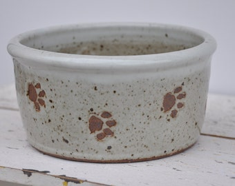 Dog bowl with paw prints,  pottery dog bowl, small dog bowl, Pottery, Ceramics, Pets