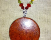 Royal Touch Rastafari Red Jasper and Ruby Pendant Necklace