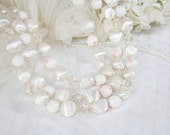 Vintage White Three Strand Bead Necklace Vintage Wedding Necklace Necklace for Any Occasion Classic Style Vintage Japan Necklace