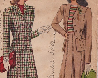 "40s Women's Jacket Skirt Suit Vintage Perforated Sewing Pattern - Simplicity 4548 - Size 14, Bust 32"", Complete"