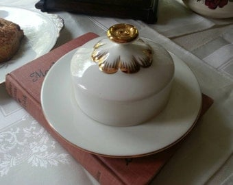 Royal Albert Round Butter Dish White and Gold made in England