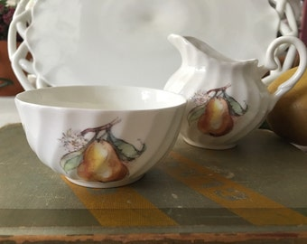 English Bone China Allyn Nelson Fruit Motif Creamer ans Sugar Set