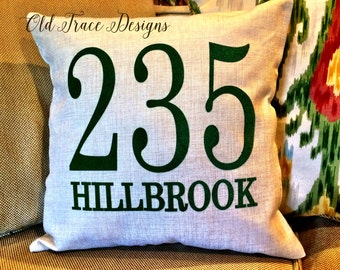 House Number Street Address Personalized Pillow Cover Good for Housewarming