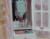BARBIE BLYTHE 1:6 Scale Play Scale Lingerie Armoire Closet Cabinet Wood Mirror Back