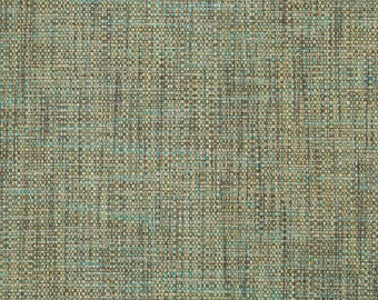 Aqua Tweed Upholstery Fabric - Taupe Brown Woven Textured Furniture Fabric - Teal Tweed Window Seat Fabrics - Aqua Blue Brown Woven Pillows