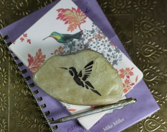 Hummingbird engraved stone