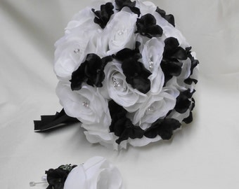 Wedding Silk Flower Bouquet Your Colors 2 pieces White Bride's Bouquet Roses Black Hydrangeas with Groom's Boutonniere FREE SHIPPING
