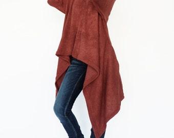 NO.189 Vermillion Orange Knitted Cowl Neck Long Sleeves Sweater, Knit Asymmetric Sweater, Women's Sweater